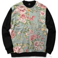 Blusa Bsc Flower Garden Full Print - Masculino-Preto
