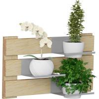 Kit Jardim Vertical 1005 Lyam Decor Green Com 02 Cachepots Bege