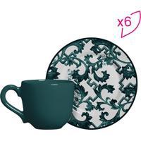 Conjunto De Xícaras De Café Arabesco- Verde Escuro & Brascalla Cerâmica