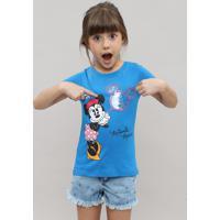 Blusa Infantil Minnie Com Manga Curta Dobrada E Decote Redondo Azul
