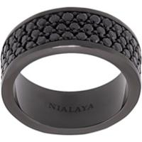 Nialaya Jewelry Anel Trio-Row - Preto