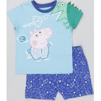 Pijama Infantil Peppa Pig Manga Curta Azul Claro