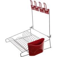 Escorredor De Louça De Parede - Vermelho/Prata - Lojas Carisma - Kanui