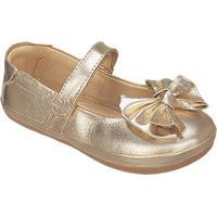 Sapato Boneca Em Couro Metalizado- Dourada- Kidskimey