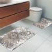 Jogo Tapetes Para Banheiro 2 Peças Flowers Geometric Único