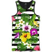 Camiseta Bsc Regata Stripe Flowered Full Print - Masculino-Preto