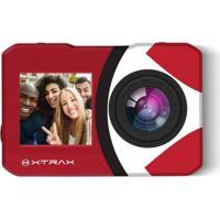 Câmera De Ação Xtrax Selfie 4K Com Controle Remoto Vermelha