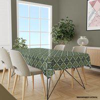 Toalha De Mesa Retangular Para 8 Lugares Geométrico Verde 1.45M X 2.70M Único