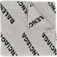 Balenciaga Echarpe Com Padronagem De Logo - Cinza
