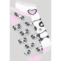 Kit De 2 Meias Infantil Soquete Estampadas Panda Multicor