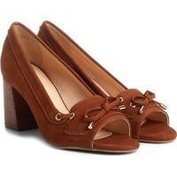 Peep Toe Couro Shoestock Salto Grosso Mocassim - Feminino