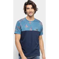 Camiseta Hd Flower Masculina - Masculino-Azul+Preto