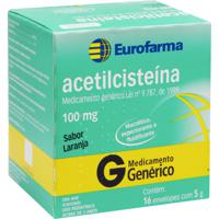 Acetilcisteína 100Mg Eurofarma 16 Envelopes