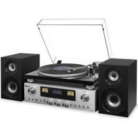 Sistema De Som Raveo Concert One Com Toca Discos Cd Player, Rádio E Entrada Usb Preto E Prata