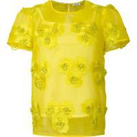 P.A.R.O.S.H. Blusa Transparente Com Flores Bordadas - Amarelo