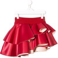 Fendi Kids Asymmetric Ruffled Skirt - Vermelho