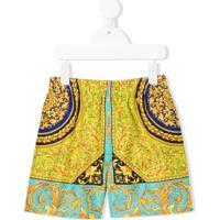 Young Versace Baroque Swim Shorts - Dourado