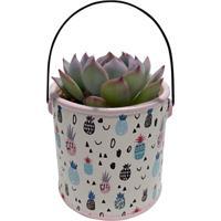 Vaso De Cerâmica Branco Pineapple Can Urban Home