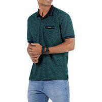 Camisa Polo Em Retilínea Masculina Com Bolso E Plaquinha Verde
