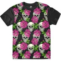 Camiseta Br Shop Caveira Mini Rosas Sublimada - Masculino-Preto