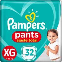 Fralda Pampers Pants Ajuste Total Mega Tamanho Xg 32 Unidades