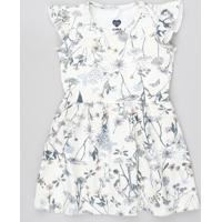 Vestido Infantil Estampado Floral Com Babado Sem Manga Off White