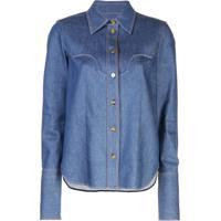 Khaite Camisa Jeans Com Abotoamento - Azul