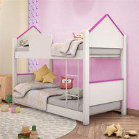 Beliche Infantil Casa Adesivada Branca E Rosa Com Colchões Casah