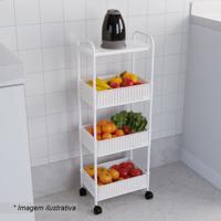 Fruteira Decorativa- Branca- 85,5X35X22,5Cm- Metmetaltru
