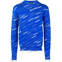 Balenciaga Moletom Destroyed Com Logo - Azul