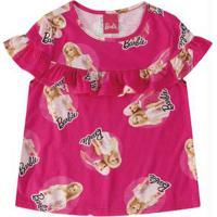 Blusa Pink Com Babado Barbie® Menina Malwee Kids