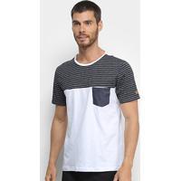 Camiseta Mood Pocket Stripes Masculina - Masculino-Mescla Claro
