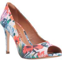 Peep Toe Floral- Azul & Laranja- Salto: 9,5Cmcecconello