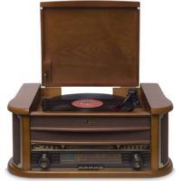 Toca Discos Raveo Ópera Bivolt Madeira Com Bluetooth Usb Rádio Fm Cas