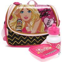 Lancheira Sestini Infantil Barbie Rosa/Preta