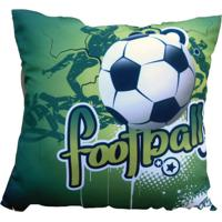 Almofada Impressão Digital Futebol Verde 42X42Cm Uniart