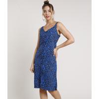 Vestido Feminino Midi Estampado Animal Print Onça Com Fenda Alça Média Azul Royal