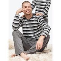 Pijama Cinza Masculino Sustentável Listrado