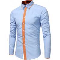 Camisa Slim Tarja Laranja - Azul Clara