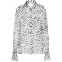 Miu Miu Blusa Translúcida Com Estampa - Branco