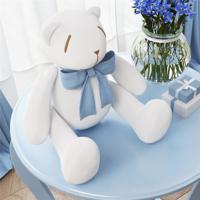 Urso Branco Laço Azul Bebê 25Cm Grão De Gente Azul