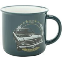 Caneca De Porcelana Antique Gm Opala Preto Fundo Azul 300 Ml