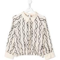 Elisabetta Franchi La Mia Bambina Long Sleeve Chain-Link Print Blouse - Neutro