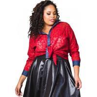 Blusa Beline Plus Size De Renda Lenner - Feminino-Vermelho