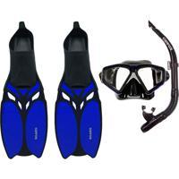 Kit Mergulho Máscara+Nadadeira+Snorkel Cetus Shark Azul