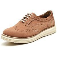 Sapato Oxford Casual Conforto Camurça Salmão
