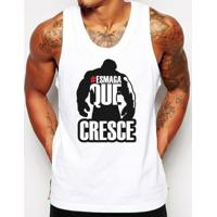 Camiseta Regata Criativa Urbana Frases Esmaga Que Cresce Academia - Masculino-Branco