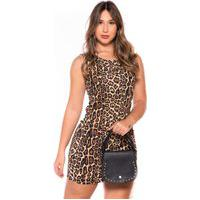 Vestido Animal Print Curto M&A Modas Oncinha