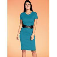 Vestidos Tubinho Azul Moda Evangélica
