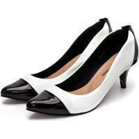 Sapato Feminino Scarpin Salto Alto Fino Em Verniz Branca E Verniz Preto